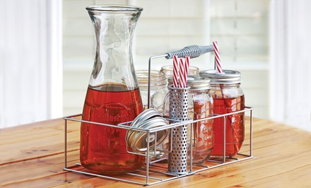 groupon daily deal - 10-Piece Mason Jar Beverage Set with Carafe and Caddy. Free Returns.