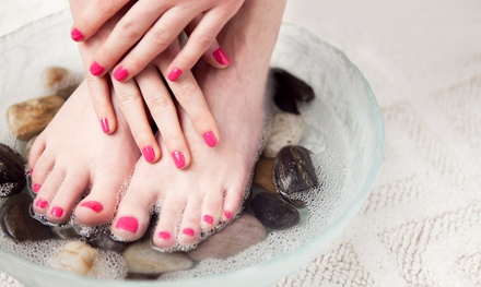 One or Three Basic or Shellac Mani-Pedis at Divinity Salon (Up to 53% Off)
