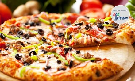 Menu con sgabei, pizza, dolce e birra
