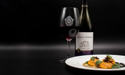 image for $35 for <strong><strong>Wine</strong> Tasting</strong> for Two, $15 Towards Tapas, and Souvenir Glasses at Herzog <strong>Wine</strong> Cellars ($58 Value)