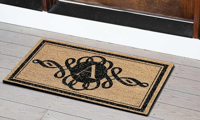 door barn oversized mats with doormat regard regarding monogrammed ideas to pottery household