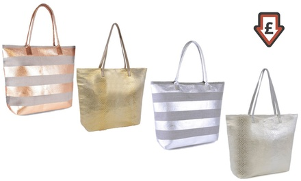 Metallic Beach Bag | Groupon Goods