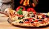 Pizza-Menü mit Salat und Dessert