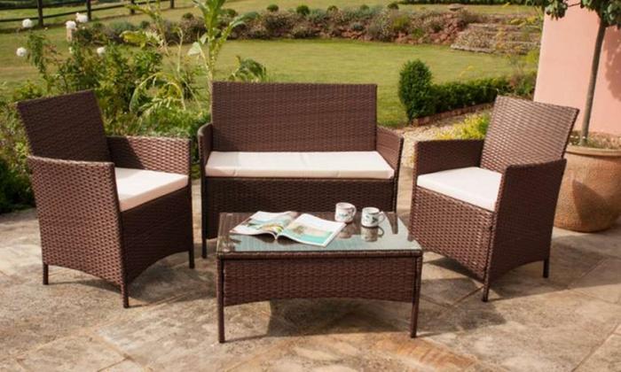 Roma rattan furniture set groupon for Garden furniture set deals