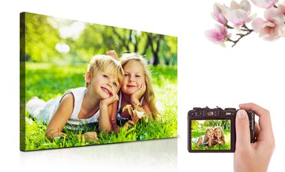 "Personalised 30"" x 20"" or 40"" x 30"" Photo Canvas Print from Printerpix (Up to 54% Off)"