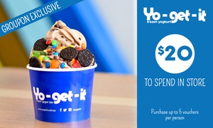 Yo-get-it: $9 for $20 to Spend on Self-Serve Frozen Yoghurt, Acai Bowls or Smoothies at Yo-get-it - 7 Locations