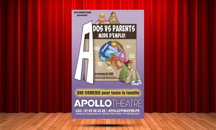 """2 places pour """"Ados VS parents, mode d'emploi"""", date au choix, à 24 € à Apollo Théâtre"""