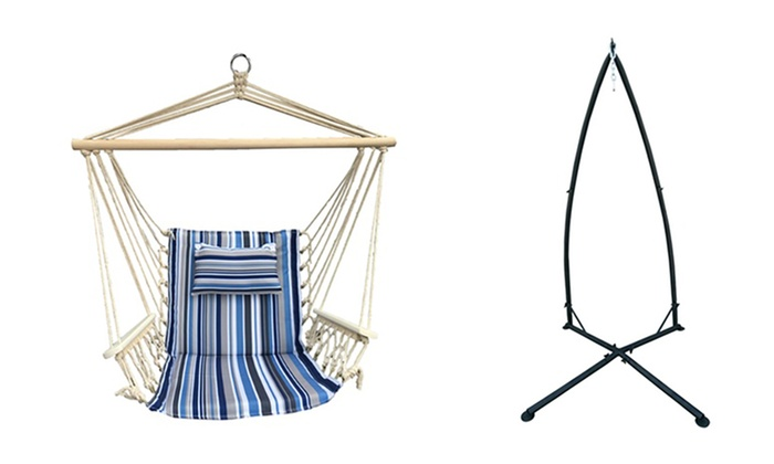 Fine Up To 38 Off On Hammock Chair With Stand Groupon Goods Short Links Chair Design For Home Short Linksinfo