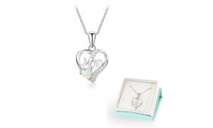 3.00 CTW Opal Mom Heart Pendant in Sterling Silver by Diane Lo'ren