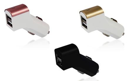 Cargador USB dual para coche con opción a cable Lightning disponible en varios colores