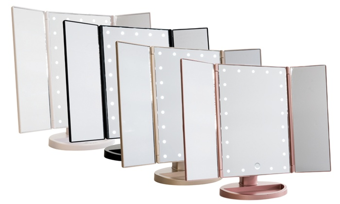 Tri Fold Vanity Mirror With Lights Best Up To 60% Off On Touch Trifold LED Makeup Mirror Groupon Goods