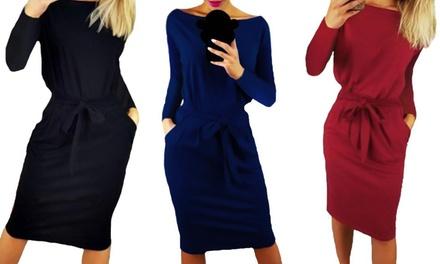 Long-Sleeved Belted Dress