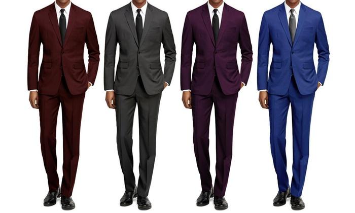 Braveman Men's Slim Fit Solid Suit (2-Piece)   Groupon