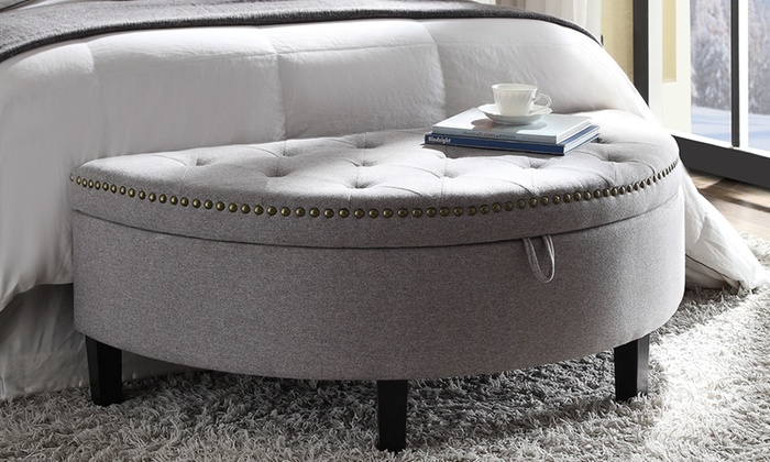 Excellent Half Moon Storage Ottoman Groupon Goods Beatyapartments Chair Design Images Beatyapartmentscom