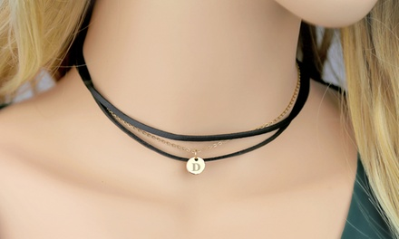 Personalized Initial Multi-Layered Black Choker Necklace from ShopOnlineDeals