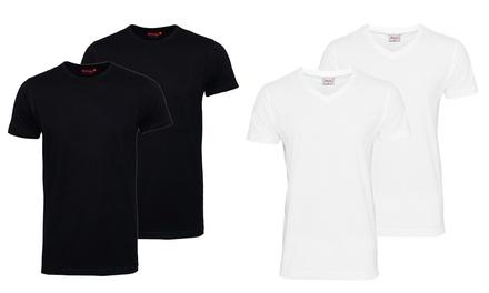 2er-Pack Herren-T-Shirt mit V-Auschnitt oder Rundhals  in Weiß oder Schwarz