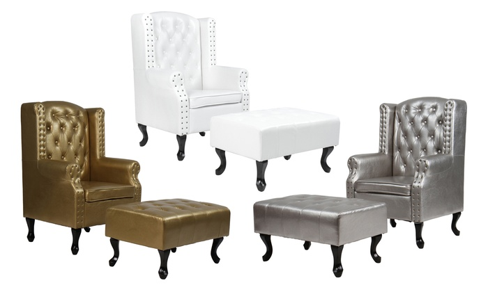Pleasant Chesterfield Stoel Met Bankje Groupon Goods Lamtechconsult Wood Chair Design Ideas Lamtechconsultcom
