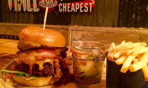 Hydeout Bar-B-Q: Burger or Hot Dog with Craft Beer for up to Four People at Hydeout Bar-B-Q (Up to 60% Off)