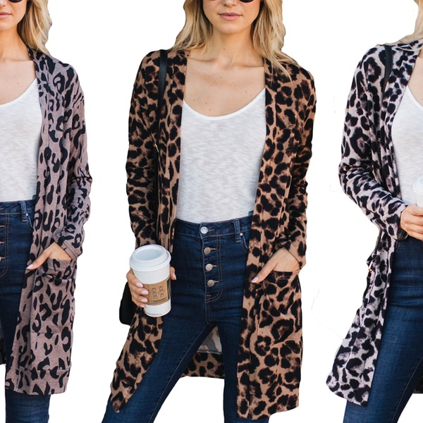 Up To 68 Off On Women S Leopard Pocket Cardigan Groupon Goods