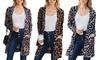 Reflection Women's Leopard Cozy Pocket Cardigan. Plus Sizes Available.
