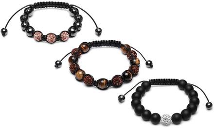 Bracelets avec boules de cristal et perles d'hématite, pour hommes et femmes, à 3,99€ (92% de réduction)