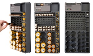 Mountable 98-Battery Organizer with Removable Tester