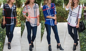Reflection Women's Plaid Roll-Tab Woven Blouse Sizes S-3X