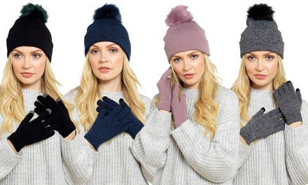 One or two Bobble Hat and Touchscreen Glove Sets