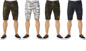 X-Ray Jeans Men's Camouflage Moto Stretch Denim Shorts