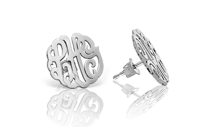 Namejewelryspot.com: $34 for a Set of Silver Monogrammed Post Earrings from NameJewelrySpot ($143.99 Value)