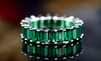 Lab-Created Emerald-Cut Green Emerald Ring By Peermont
