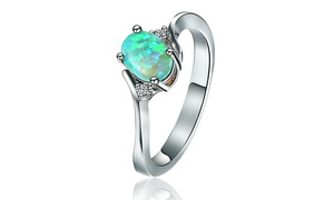 Lab-Created Green Moss Opal Engagement Ring By Peermont