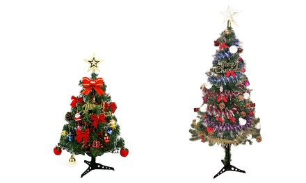 Artificial Christmas Tree with Ornament Pack: 60cm ($19) or 150cm ($39)