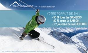 Skiogrande: 1 ou 2 cartes télépéage avec première journée et des remises jusqu'à 50% sur des forfaits ski dès 29 € avec Skiogrande