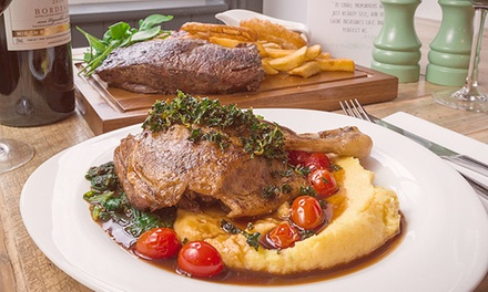 TwoCourse British Bistro Meal with Glass of Wine for Two or Four at Oscar and Bentleys, Canterbury
