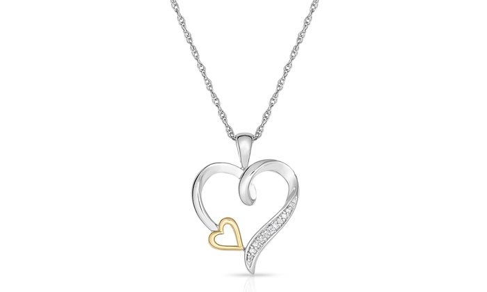 Diamond accent heart pendant in sterling silver and 10k yellow gold aloadofball Image collections