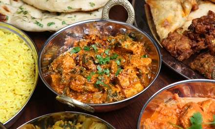 TwoCourse Indian Meal with Rice or Naan for Two or Four at Seven Elephants
