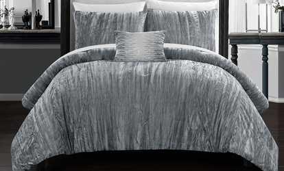 Shop Groupon Aglire 220 Fill Power Velvet Comforter Set (4 Piece)