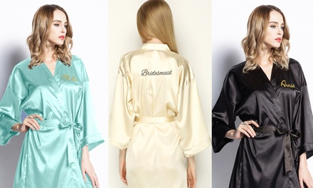 Satin Bath Robe with Embroidery: One ($34.95), Two ($59.95) or Four ($99.95)