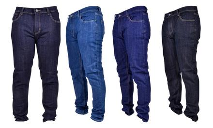Chams Men's Basic 5-Pocket Stretch Denim Jeans