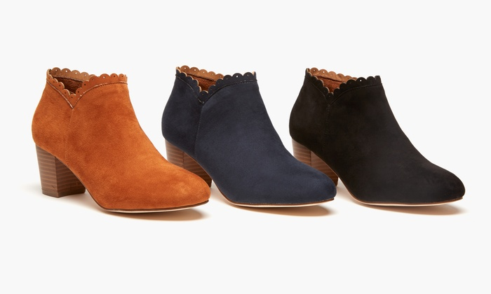 Olive Street Women's Scallop Bootie | Groupon Exclusive