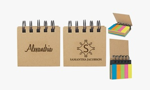 Personalized Sticky Note and Flag Spiral Notebook (1, 2, or 4-Pack)