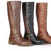 Journee Collection Women's Wide-Calf Studded Zipper Riding Boots