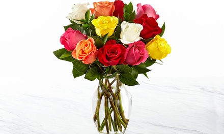 $20 One Dozen Mixed Long Stem Roses with Vase Included from FTD.com (60% Off)