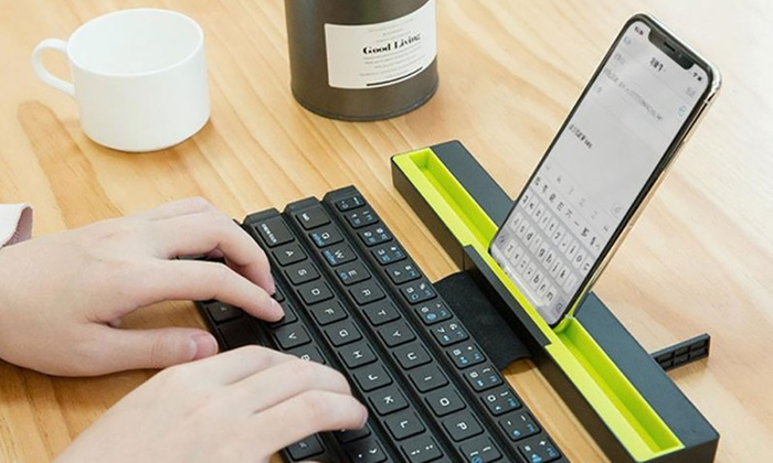 Wireless Bluetooth Roll-Up Keyboard with Holder