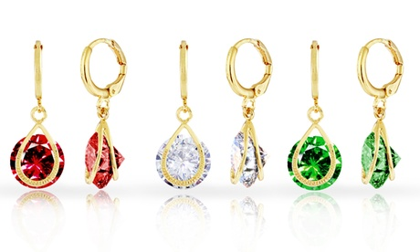 18K Gold Plated Drop Earrings with Floating Swarovski Elements Crystals