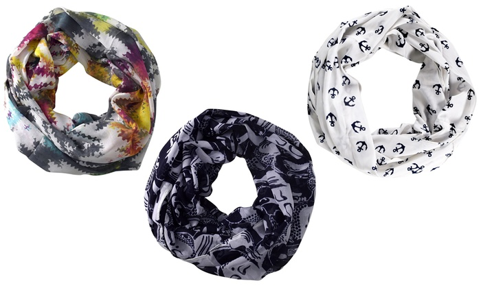 Peach Couture Women's Printed Infinity Scarves