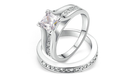 6618666266463 2 bagues Romatco plaqué or 18 carats et ornées de cristaux Swarovski® à 16,