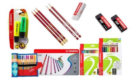 Set di penne, pastelli, evidenziatori e gomme per la scuola Stabilo disponibile in varie tipologie