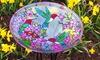 Glass Birdbath with Garden Stake: Glass Birdbath with Garden Stake